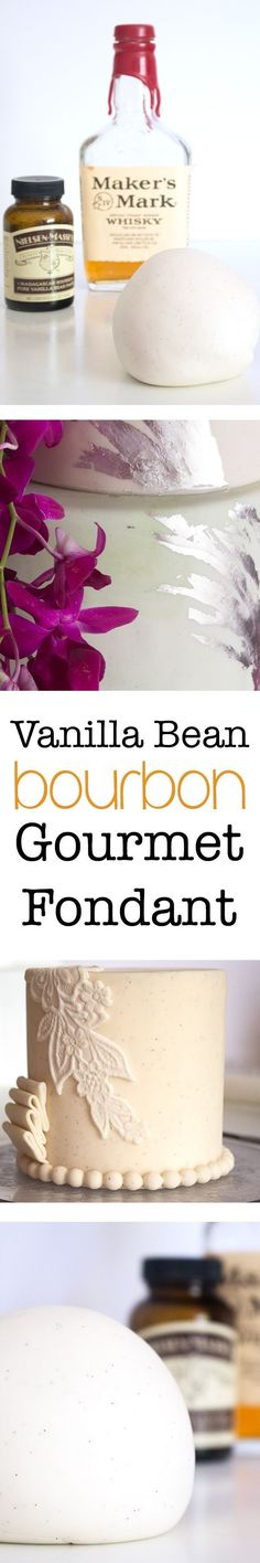 Vanilla Bean Bourbon Fondant Recipe Make flavored fondant in your own kitchen! Start with this Vanilla Bean Bourbon Gourmet Fondant. Recipes from Kara's Couture Cakes. Frosting Recipes, Cake Recipes, Dessert Recipes, Fondant Recipes, Desserts, Fondant Tips, Chocolate Fondant, Modeling Chocolate, Chocolate Glaze