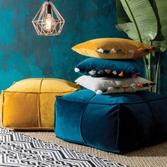 Add a little bohemian luxury to your home with our Bailey velvet poufs. Available in rich blue and mustard tones, these gorgeous poufs have a panelled finish in soft velvet. Style with our Bailey cushions to complete the look! Mustard Bedding, Blue Bedding, Linen Bedding, Bed Linens, Cotton Bedding, Luxury Bedding Sets, Floor Cushions, Velvet Cushions, Boho Cushions