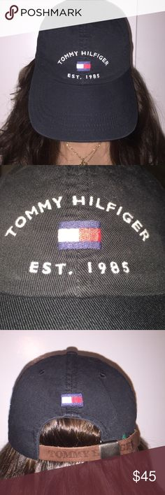 Baseball hat Black Tommy Hilfiger baseball hat with hand stitching, leather TH strap to adjust. Great condition. Very rare to find. Vintage. Tommy Hilfiger Accessories Hats