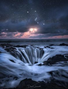 Photograph titled Thor by Daniel Greenwood (Orion Constellation) Oregon Coast location Thor's Well