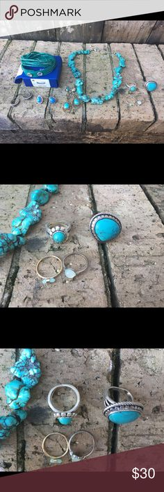 Lot of Turquoise Jewelry Fossil Rings Bracelet new Huge lot of Turquoise jewelry Fossil ring has huge Turquoise stone size 7 ,Turquoise nugget necklace drop length adjustable length can be shortened or lengthen. Premier Turquoise ring size 8.5 , Drop length Turquoise and stone colored earrings made by RJC, the other 2 rings by American Eagle size 8, express silver small hoops, Sterling Turquoise stud earrings and Swarovski bracelet new in box. Turqoise sterling Jewelry Rings