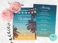 Beach Wedding Itinerary Corjl Template Wedding Welcome | Etsy Destination Wedding Invitations, Wedding Invitation Sets, Wedding Planner, Wedding Signs, Wedding Ideas, Diy Wedding, Wedding Schedule, Digital Invitations