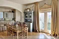 French Country with burlap curtains