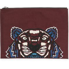 Kenzo Tiger clutch (£110) ❤ liked on Polyvore featuring bags, handbags, clutches, red, kenzo handbags, embroidered purse, embroidery handbags, red handbags and kenzo