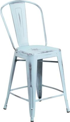 Tolix Style 24'' High Distressed Dream Blue Metal Indoor/ Outdoor Counter Stool With Back - YourBarStoolStore + Chairs, Tables and Outdoor - 4