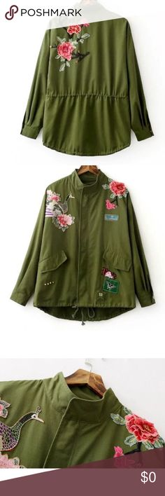 🎄‼️NEW‼️Military Green 3D Embroidered Jacket 👯💖 🎉NEW IN🎉Military Green Embroidered Jacket 👯 Jackets & Coats Utility Jackets