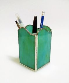 Pencil  Holder - Pen Holder - Stained Glass - Turquoise Blue Green Swirl - Desk Accessory - Office Decor - Desk Set - Candle Holder by StainedGlassYourWay on Etsy