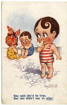 Old Rare Postcard Donald McGill 'Children in Swimsuits' Comic Used (Ref: AA757)   eBay
