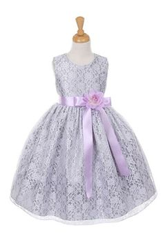 Girls Dress Style 1132- SILVER Taffeta and Lace CREATE YOUR OWN DRESS  The perfect dress for her special day, this dress is so stylish. The dress is made in beautiful floral lace and the waist line is accented with an adorable bow. The skirt on this dress has the perfect amount of fullness. Comes in endless removable satin sash and pin on flower color options.  http://www.flowergirldressforless.com/mm5/merchant.mvc?Screen=PROD&Product_Code=CC_1132SVL&Store_Code=Flower-Girl&Category..