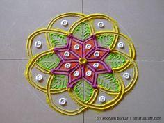 Small and easy flower shaped rangoli | Creative rangoli designs by Poonam Borkar - YouTube