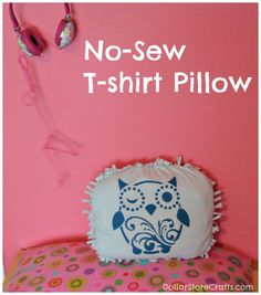 No-Sew T-shirt pillow project - dollar store crafts #tulipforyourhome #ilovetocreate #paints #stencils