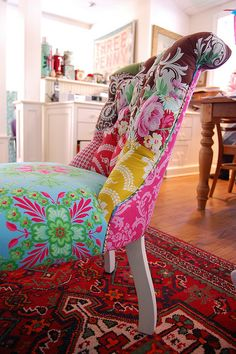 patchwork chair, I want! I have just the chair to do this to. Funky Furniture, Painted Furniture, Mismatched Furniture, Antique Furniture, Patchwork Chair, Patchwork Baby, Deco Boheme, Boho Home, Take A Seat