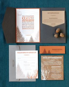 Olive-Route mixed gray and burnt-orange with illustrations inspired by the landscape of this winter wedding in Utah.