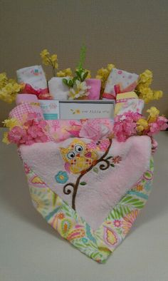 Pretty in pink!  Owl themed baby girl basket.