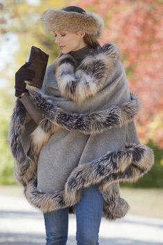Abigail Alpaca Wool Cape with Cross Fox Fur Trim ... Too bad it's not cold enough in CA to wear this