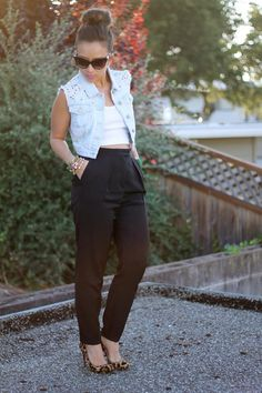 crop top, studded vest, black height waisted pants, leopard shoes
