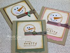 Country Snowmen DIY cards... http://www.ablogcalledwanda.com/a-blog-called-wanda/2011/12/country-snowmen-.html