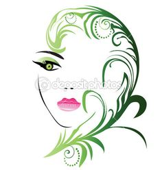 Girl face with swirly leaf vector — Stock Illustration #15049435