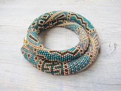 Gold Teal crochet necklace Statement Emerald by DolgovaSvetlana, $89.00