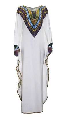 White African Print Kaftan Maxi Dress