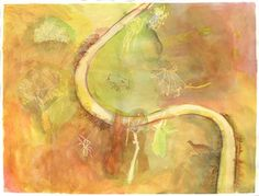 Riverscape is a landscape within a landscape. An aerial of an Australian river is surrounded by the flora and fauna elements of that landscape. John Wolseley is a major inspiration for this piece.  Media are ink, gouache and watercolour. Base is Canson Infinity Arches Aquarelle 100% archival cotton rag.  Titled, signed and dated on back.