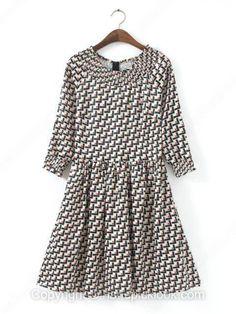 Black Round Neck Three Quarter Length Sleeve Geometric Print Print - #dress