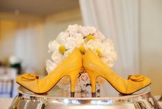 Yellow wedding shoes So thought of you Mcgonigle Liang Yellow Wedding Shoes, Yellow Weddings, Yellow Shoes, Orange Wedding, Yellow Wedding Invitations, Wedding Invitation Design, Wedding Planning, Wedding Ideas, On Your Wedding Day