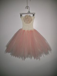 """Lunalyse's first birthday dress.  - Peach and ivory tulle - 6"""" ivory crochet Headband - peach colored flower head - tattered bottom"""