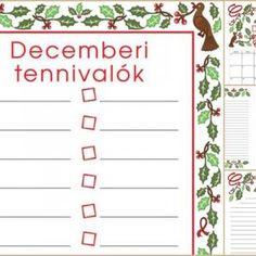 Decemberi nyomtathatók Papírműhelytől: falinaptár, tennivalólista, családi tervező, jegyzet- és levélpapír