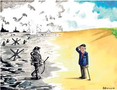 This cartoon by Bob from the Daily Telegraph mixes past and present as a D-Day veteran salutes his younger self as he lands on the beach in Normandy in June Related articles D-Day anniversary: veterans pay final tribute. 70th Anniversary, Lest We Forget, D Day, Poppies, Past, Cartoons, History, Soldiers, Respect