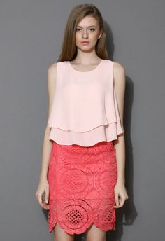 Layered Chiffon Crop Top in Pink