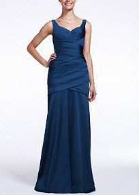 Long Sleeveless Stretch Satin Dress