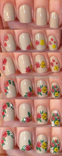 Polish Art Addiction. Nail art tutorial: how to paint simple and easy flowers. Floral spring manicure with neutral nude base.