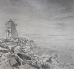 graphite, pencil, drawing of a lighthouse landscape  www.facebook.com/memoriesingraphite Graphite, Lighthouse, Pencil, Facebook, Landscape, Drawings, Painting, Art, Graffiti