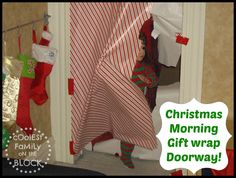 Christmas Morning Traditions: Busting through gift wrapped the doorway to get to. - Christmas Morning Traditions: Busting through gift wrapped the doorway to get to the tree! Christmas Blocks, Noel Christmas, Christmas Morning, Christmas And New Year, Winter Christmas, All Things Christmas, Christmas Crafts, Christmas Ideas, Christmas Room