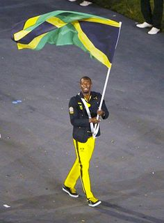 Jamaican runner Usain Bolt in the London 2012 Olympic Opening Ceremony.
