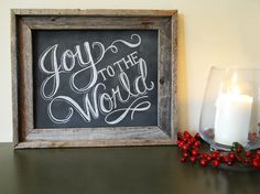 Holiday Chalkboard Sign - Rustic Christmas Decor - Joy To The World Sign  - Framed Chalkboard Art - Christmas Sign - Typography Art. $105.00, via Etsy.