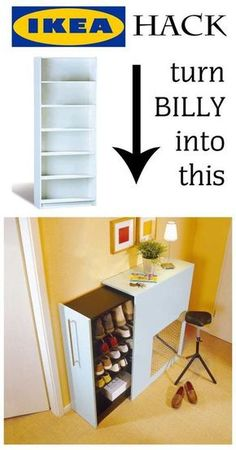 Flurmöbel selber bauen - Awesome IKEA Hack: You can turn a Billy shelf in an extendable shoe rack in just a few steps. Just - : Flurmöbel selber bauen - Awesome IKEA Hack: You can turn a Billy shelf in an extendable shoe rack in just a few steps. Just - Diy Hanging Shelves, Wall Shelves, Diy Home Decor Projects, Diy Projects To Try, Design Projects, House Projects, Decor Ideas, Diy Ideas, Home Decor Hacks