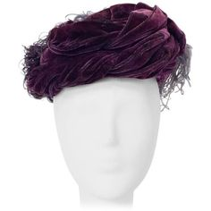 Preowned 40s Purple Silk Velvet Turban (2.545 RON) ❤ liked on Polyvore featuring accessories, hats, purple, velvet turban, silk hat, purple hat, velvet hat and turban hat
