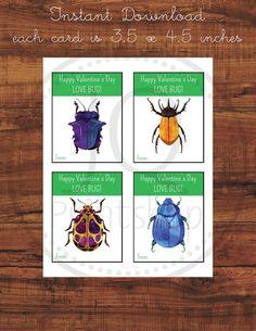 Printable Beetle Theme Valentine's Day Cards, Kids Class Valentines, Classroom Valentines, Love bug, instant Download Printable Valentines Day Cards, Love Bugs, Beetle, Classroom, Printables, Beetles, Bugs, Print Templates