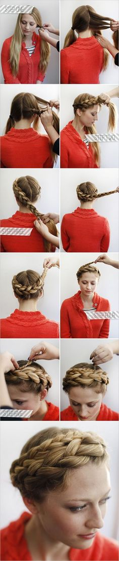 Hair tutorial : How to halo braid. I am confused a little bit about the step two… Hair tutorial : How to halo braid. I am confused a little bit about the step two, but I still like this tutorial. I can't wait to try it. My Hairstyle, Pretty Hairstyles, Girl Hairstyles, Easy Hairstyles, Wedding Hairstyles, Medium Hairstyles, Braided Crown Hairstyles, Long Haircuts, Summer Hairstyles