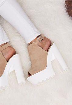 JORCA Block Heel Cleated Sole Platform Shoes - Nude