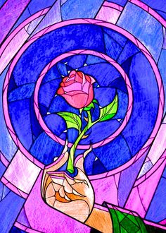 """Enchanted Rose Stained Glass Reminds me of """"Beauty and the Beast"""""""