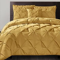 4 Piece Mustard Yellow Comforter Queen Set, Pinch Pleated Puckered Pattern, Tufted Pintucks Designs Buttonless Geometric, Stylish Golden Solid Color | My Bedspreads