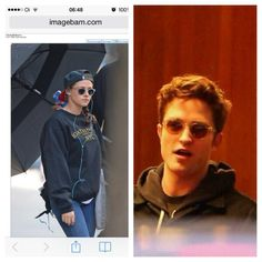 "Sharing the same sunglasses. Kristen leaving her hotel in NYC on March 22, 2014. And Rob on the set of ""Life"" in LA on March 31, 2014. #SharingIsCaring <3"