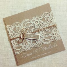 Rustic Wedding Invitation WHITE INK - Rustic Vintage Lace Square Invitation SAMPLE by StunningStationery on Etsy https://www.etsy.com/listing/186581505/rustic-wedding-invitation-white-ink