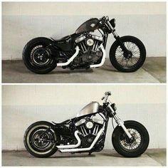 Harley Davidson News – Harley Davidson Bike Pics Motos Bobber, Bobber Bikes, Cafe Racer Bikes, Bobber Motorcycle, Bobber Chopper, Moto Bike, Cafe Racers, Motorcycle Garage, Hd Sportster