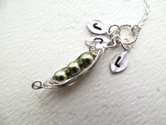 Peas in a Pod Necklace Sterling Silver Pearls by BlueDoveStudio, $30.00