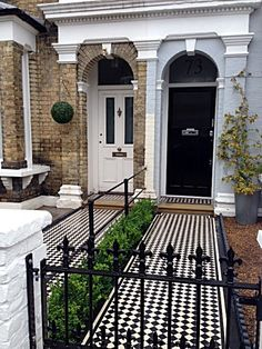 lay the tiles in diagonals so that its like classic Victorian pathway, nice Bullnose step and then continue tiling to front door step. Front Gardens, House Exterior, Gates And Railings, Front Path, Victorian Front Garden, Victorian Mosaic Tile, House Entrance, Front Garden, Victorian Homes