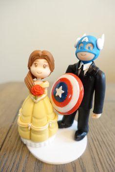 Belle Cake Topper Disney Wedding Cake Topper Captain by PlayCraft